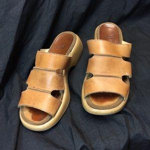 Dansko slip on sandals light brown strappy